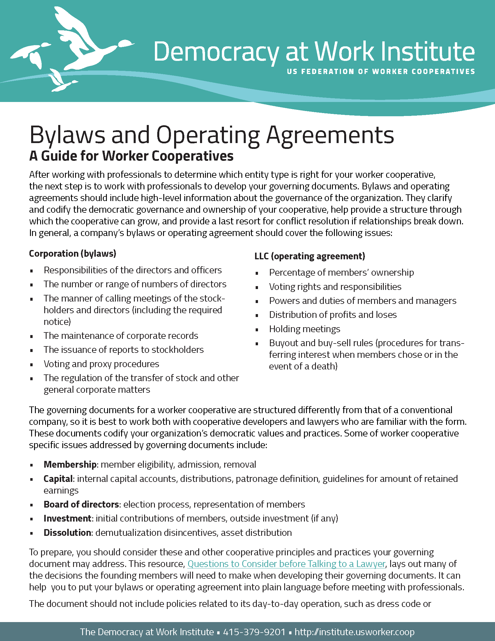 Guide to Worker Cooperative Bylaws and Operating Agreements ...